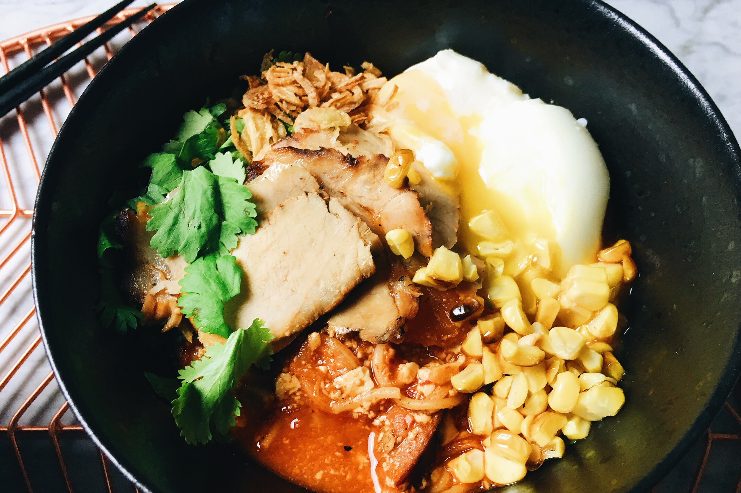 Mama Panda's Sweet & Spicy Tofu Soup with Grilled Pork