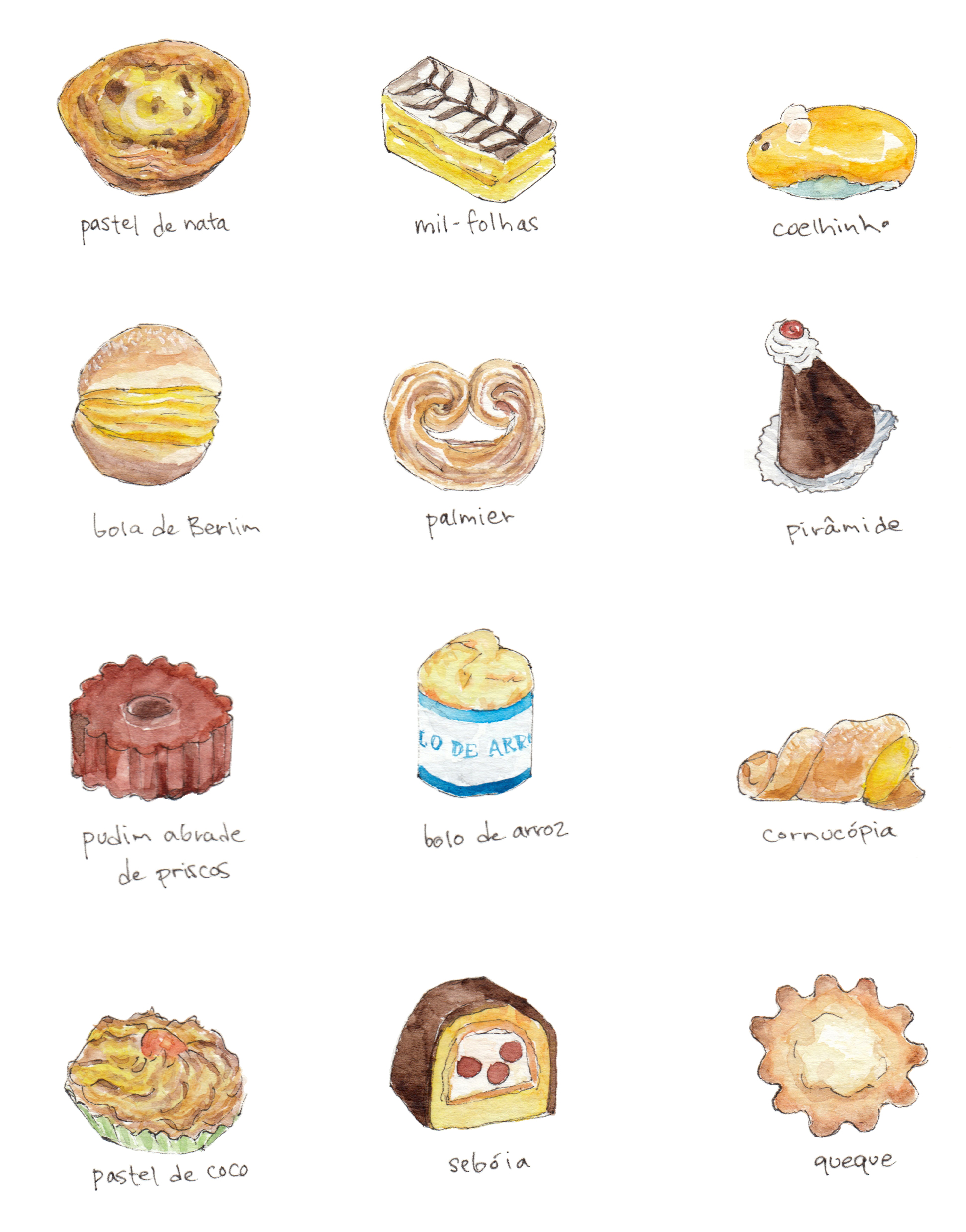 Portuguese pastries food illustration
