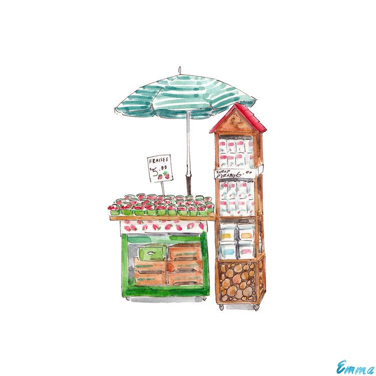 Strawberry stand in Jean-Talon Market in Montreal