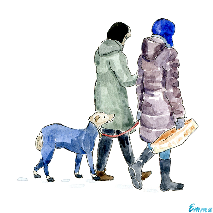 Women walking dog in Montreal watercolor illustration