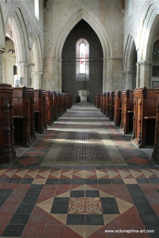Pews and west view