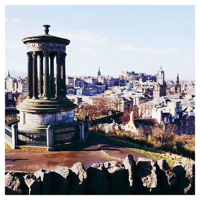 "Repost - Photo by @exploringedinburgh . """"Everywhere is walking distance if you have the time."" -Steven Wright ~ Another reason I love Edinburgh, you can walk almost anywhere in the city if you have the time! I had a little time before work today so I took a leisurely stroll up Calton Hill to enjoy the sunshine and soak up the views 😍"""