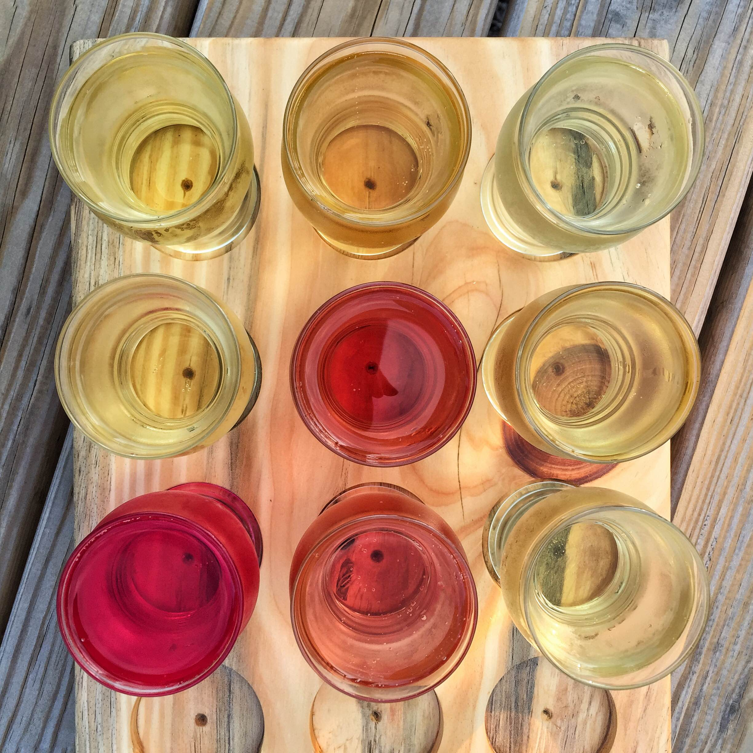 Flight of craft ciders at Pennings Farm (photo by Amber Pierce)