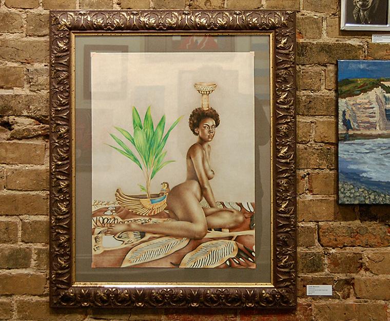The Carrack Modern Art: Community Exhibition in Durham, NC. Josh Sessoms Artist. Art Gallery First Friday Opening. Nebethet Framing Detail.