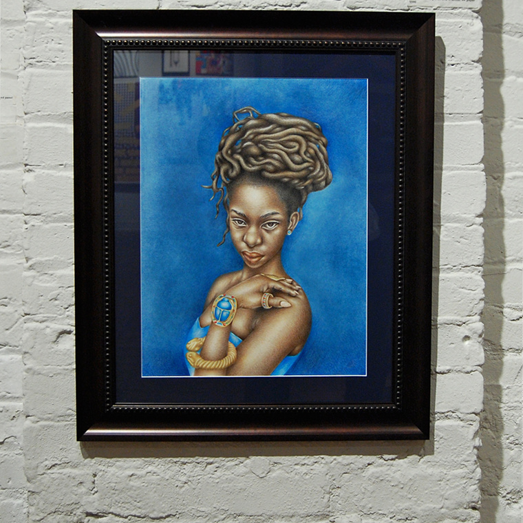 Bastet (Kemet/Egypt): African Art and Painting by Josh Sessoms - Fresh Art Gallery Exhibition at Artspace, Raleigh NC. Framed Detail - Gallery Wall.