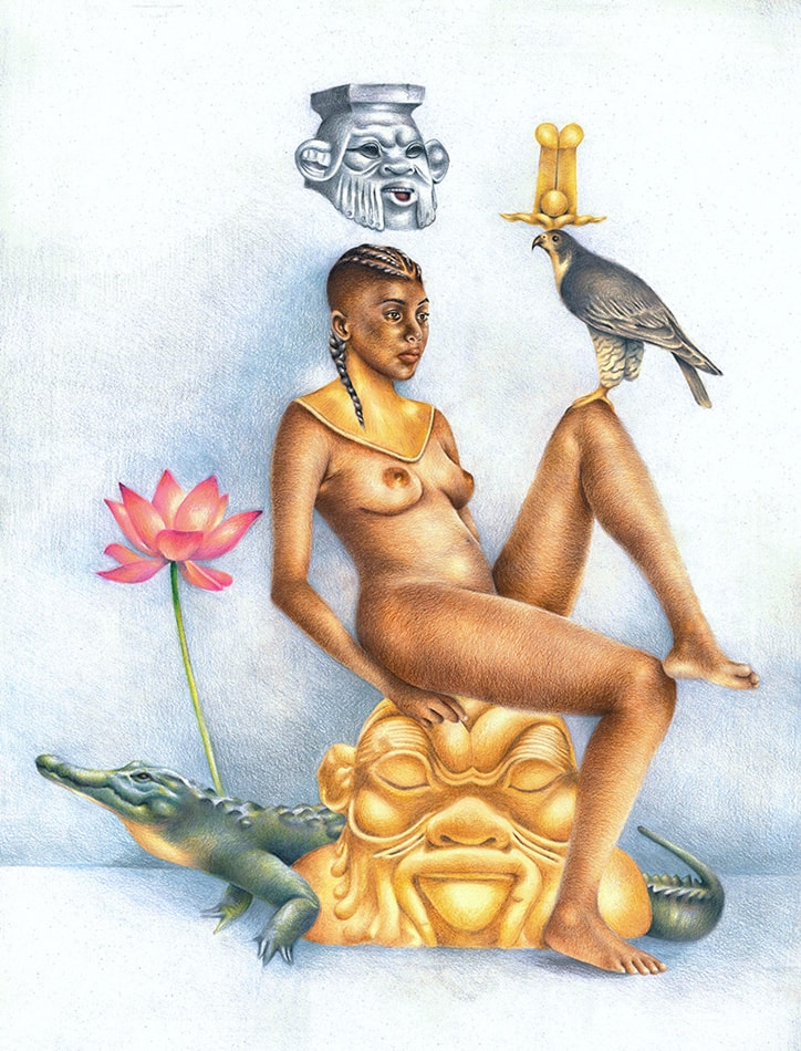 Ritual Spirit (Kemet/Egypt): African Art and Painting by Josh Sessoms Art. Heru (Horus) and Ra as Falcon (Ra Heruakhety). Sculpture of Bes. Philadelphia, Raleigh/Durham and New York.