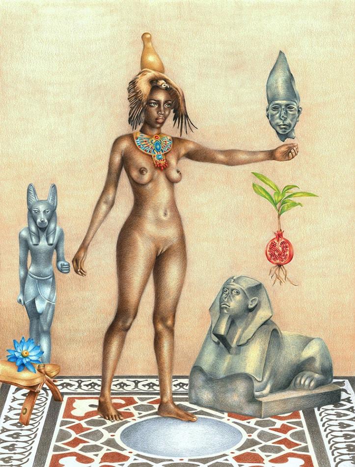 Metamorphosis - Asar (Osiris): African Art and Painting by Josh Sessoms Art. Sculpture of Anpu (Anubis). Philadelphia, Raleigh/Durham and New York.
