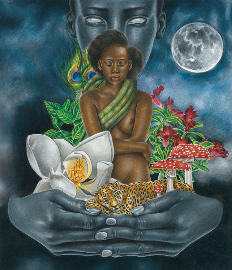 Josh Sessoms Art - Colored Pencil Drawing - Are You the Moon Awaken Dreams