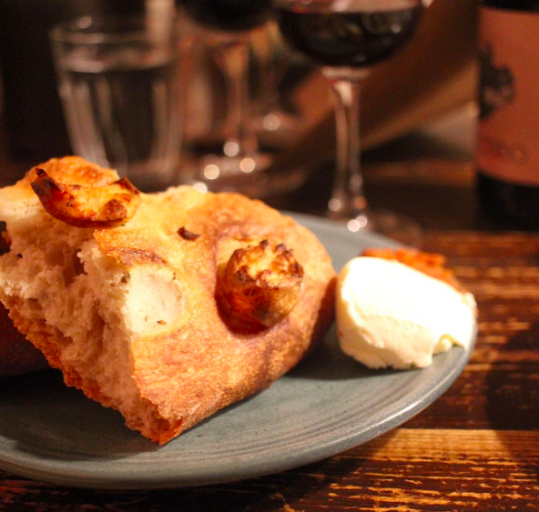 Potato bread with nduja and cultured butter.
