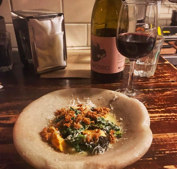 Agnoletti with cow's curd and dulse.