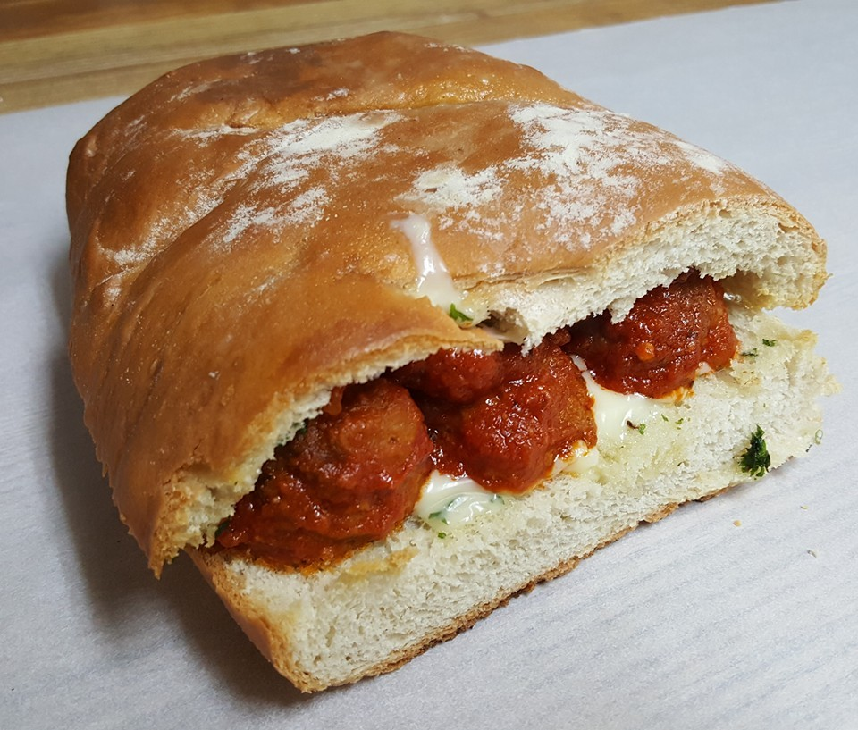 Meatball Sub with our homemade meatballs and sauce