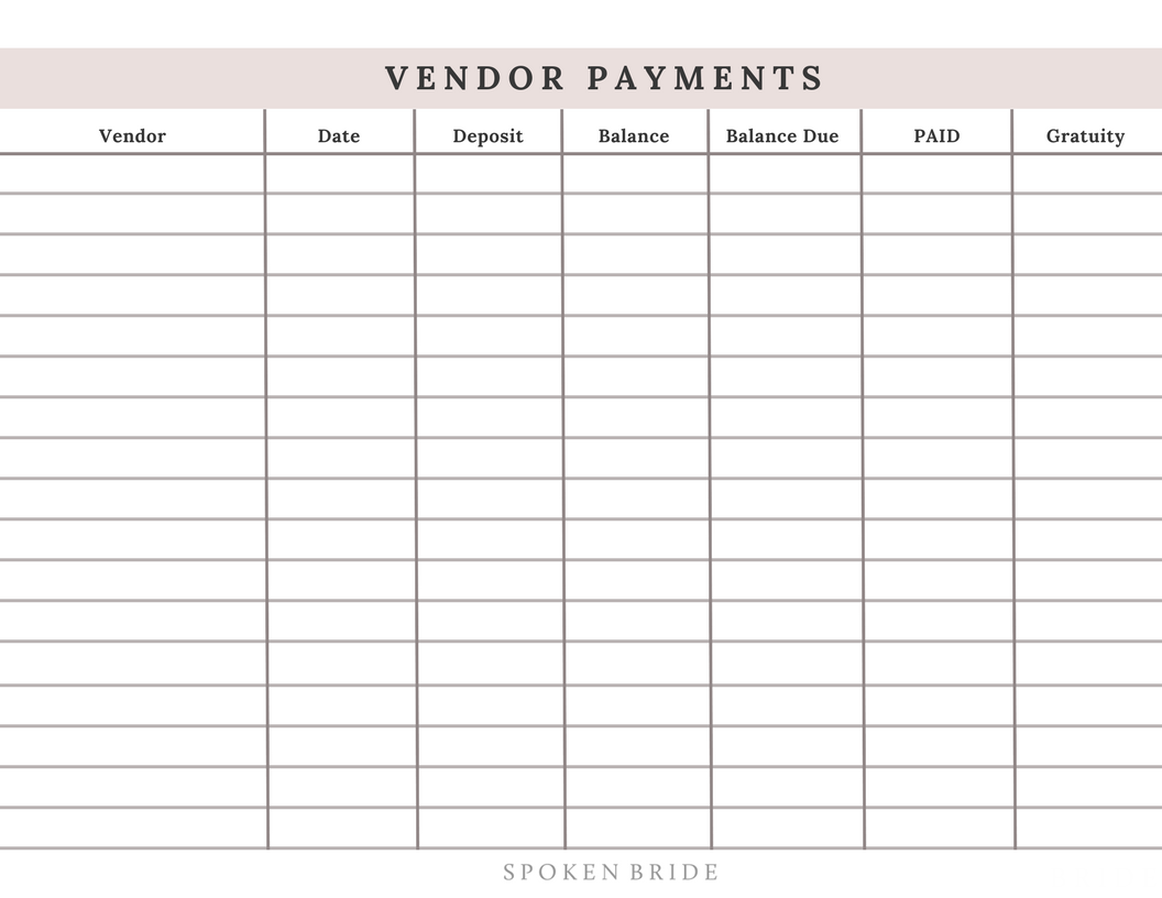 Click to download your copy of the Vendor Payment Tracker.