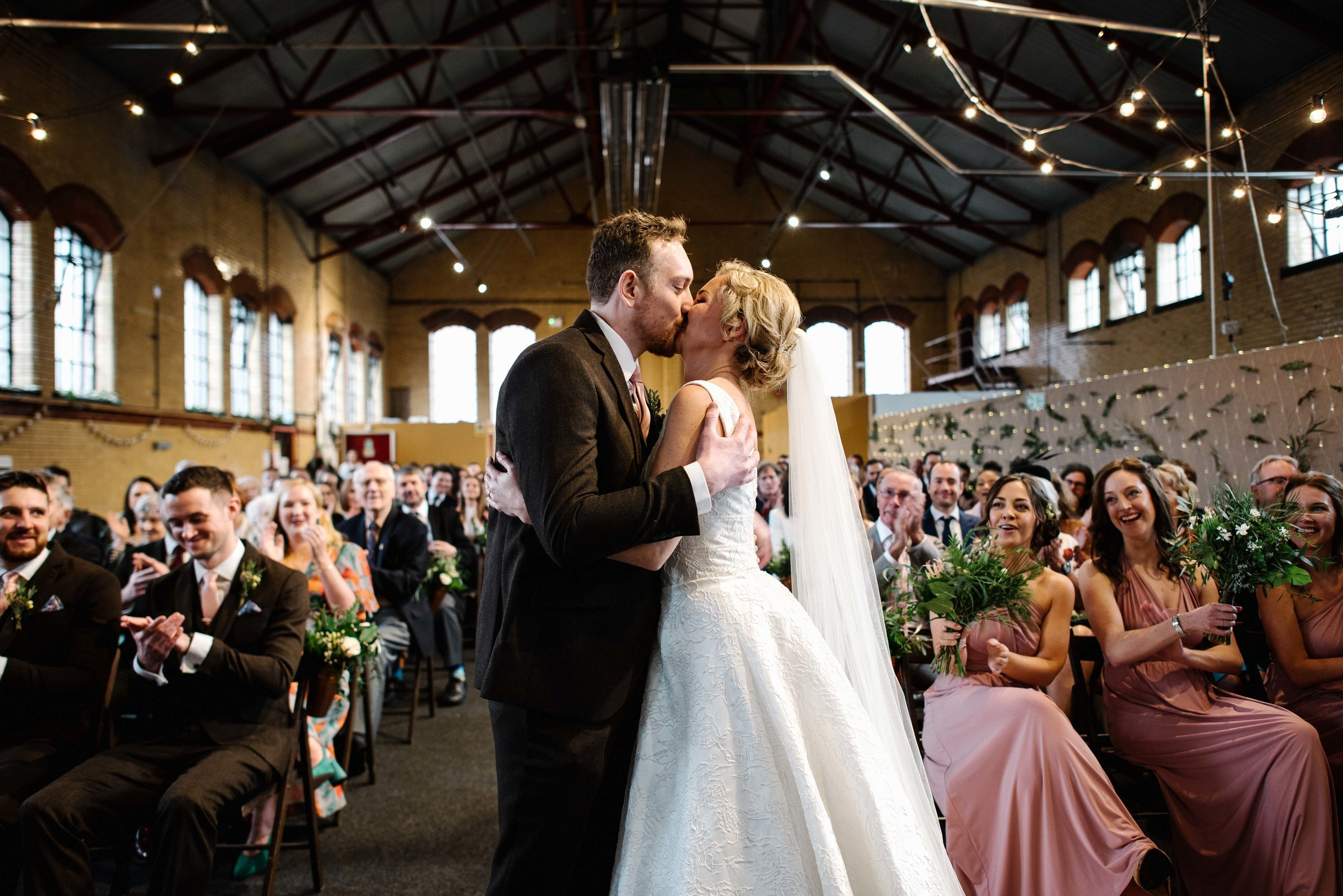 annabel + simon - sheffield industrial wedding with beautiul flowers, an amazing venue and lots of dancing