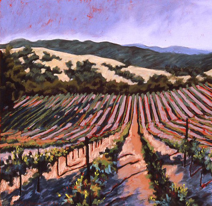 Late Day in the Napa Valley     Pastel      Private Collection