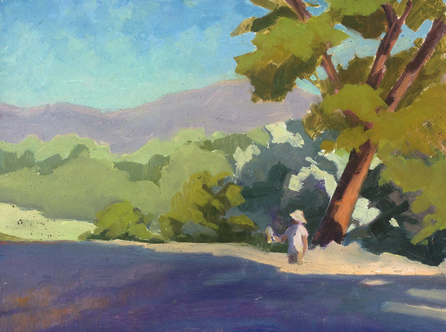 Study of plein air painter at Los Luceros.  Oil.  9x12.