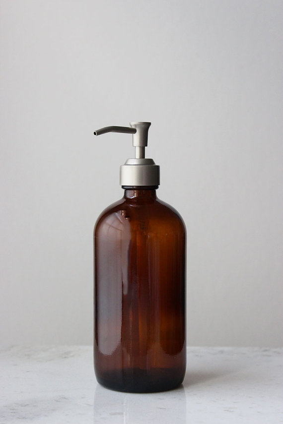 Rail 19 amber glass soap dispenser