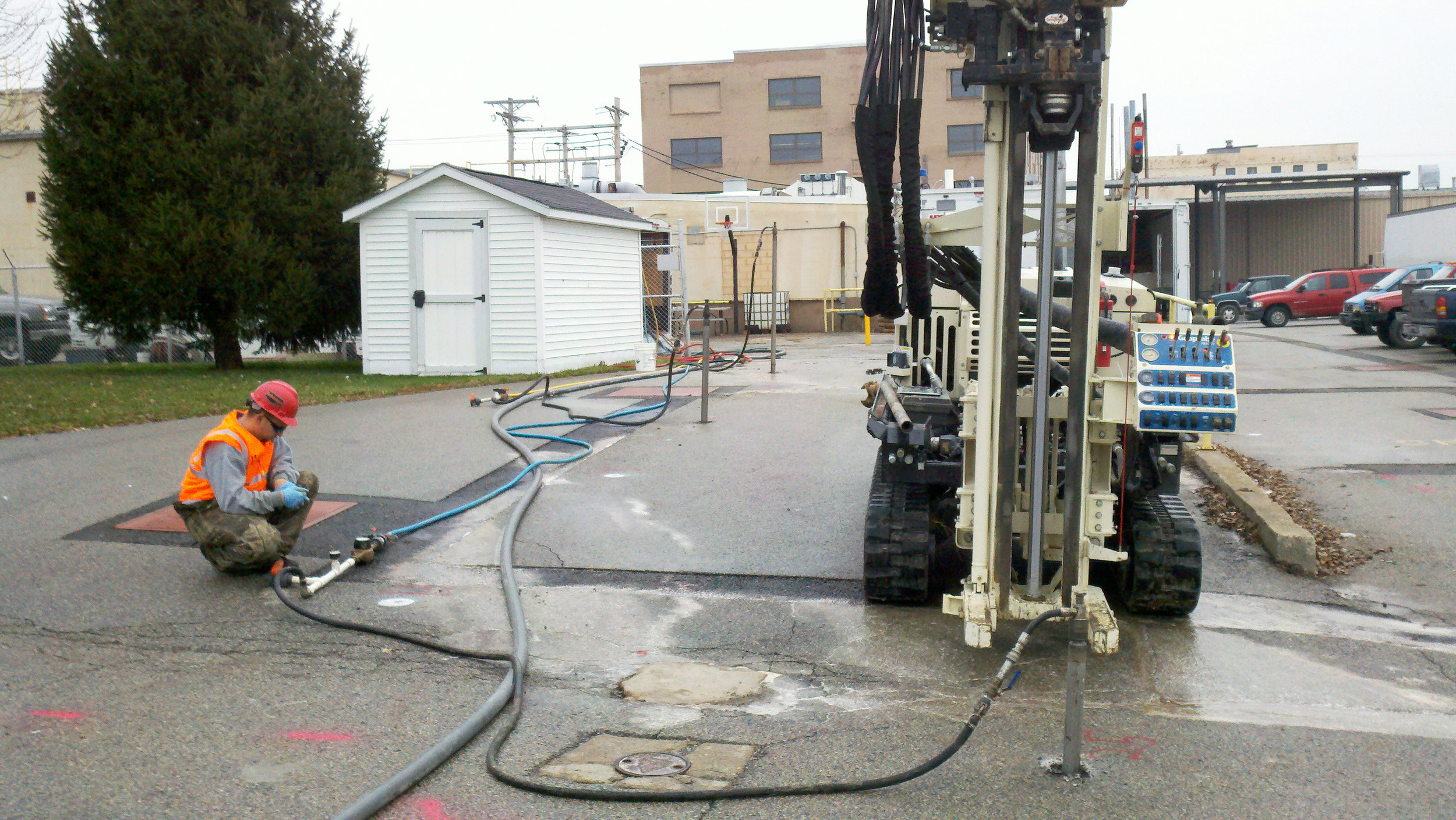 KERAMIDA DRILLER WITH EQUIPMENT HOOKED UP TO INJECTION PORT FOR THE INPUT OF MICROORGANISMS INCLUDING 3DME AND BDI-PLUS.