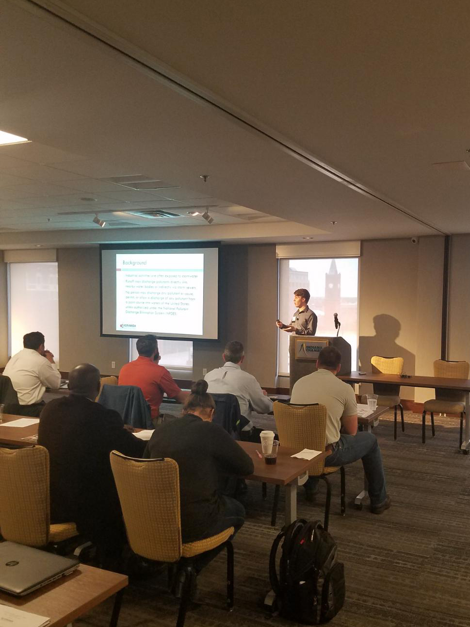 "Nathaniel Cullen presenting ""Rule 6 Compliance: An Overview of Indiana's Industrial Stormwater Rule"""