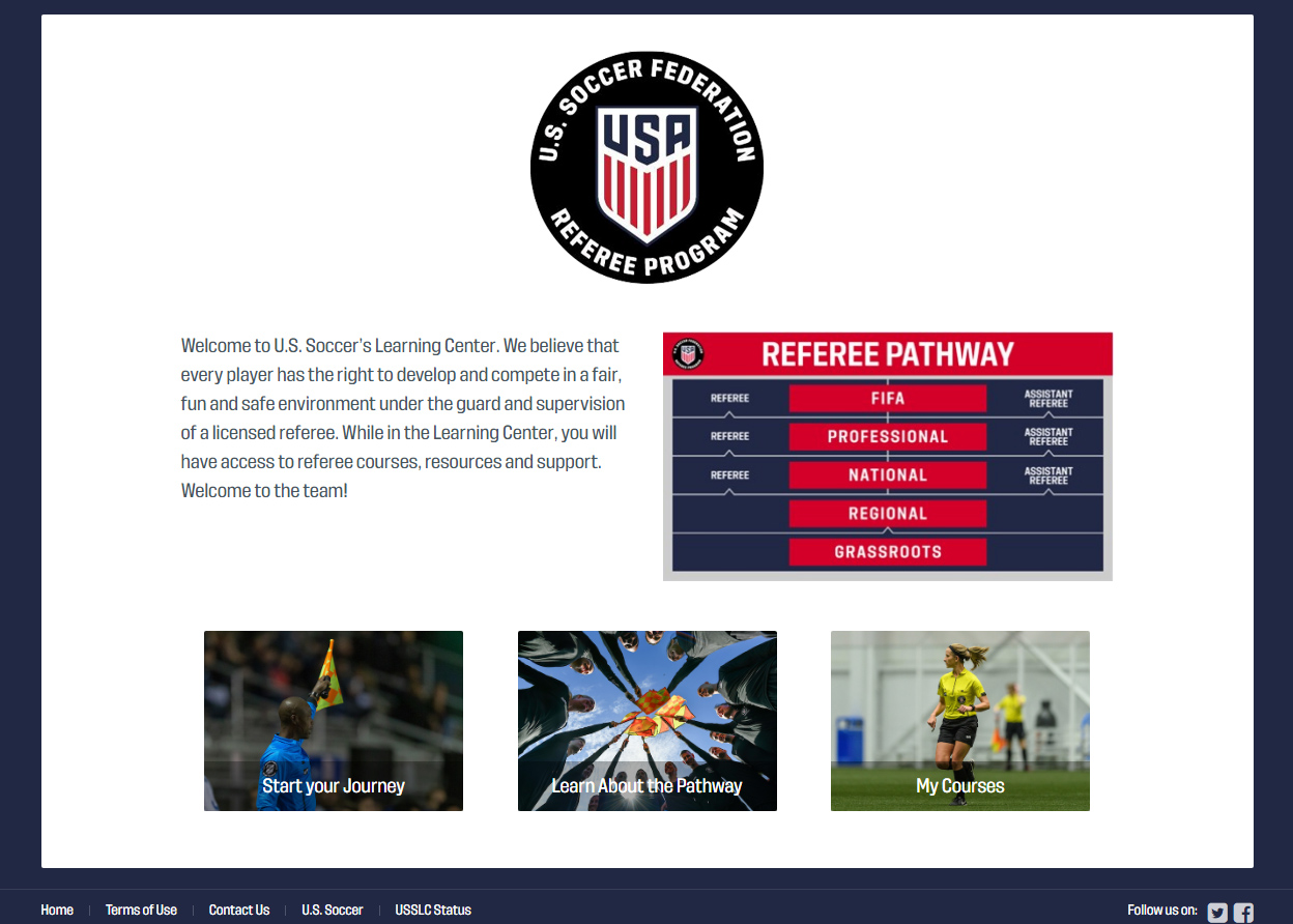 Online Training - Create a profile in US Soccer's Learning Center, where you will complete the Online Training. Upon completion, print your certificate or the email you receive and bring it to your Field Training course