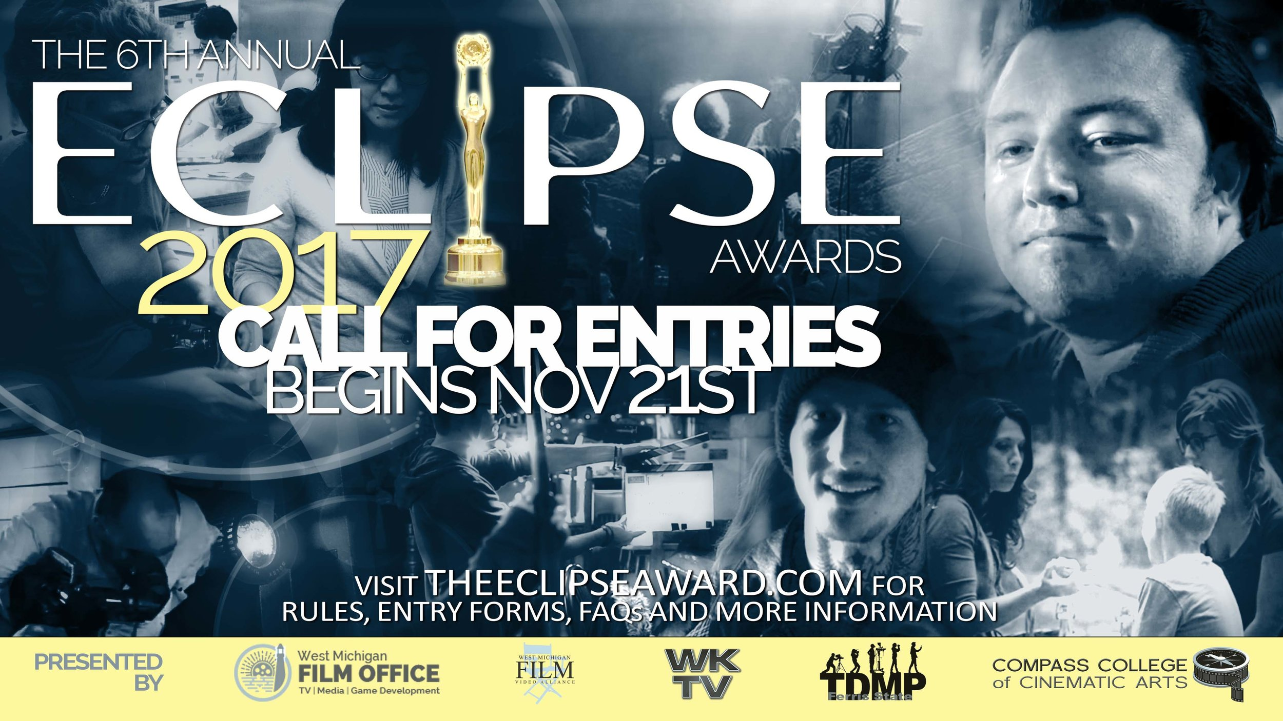 Wyoming/Kentwood Television Studios is donating a free entry into the  2017 Eclipse Awards for the winning Challenge film. The Eclipse Award is given for story telling and production excellence and seeks to elevate content creators throughout West Michigan. Entries for 2017 are open. Submit your Michigan-made film now.