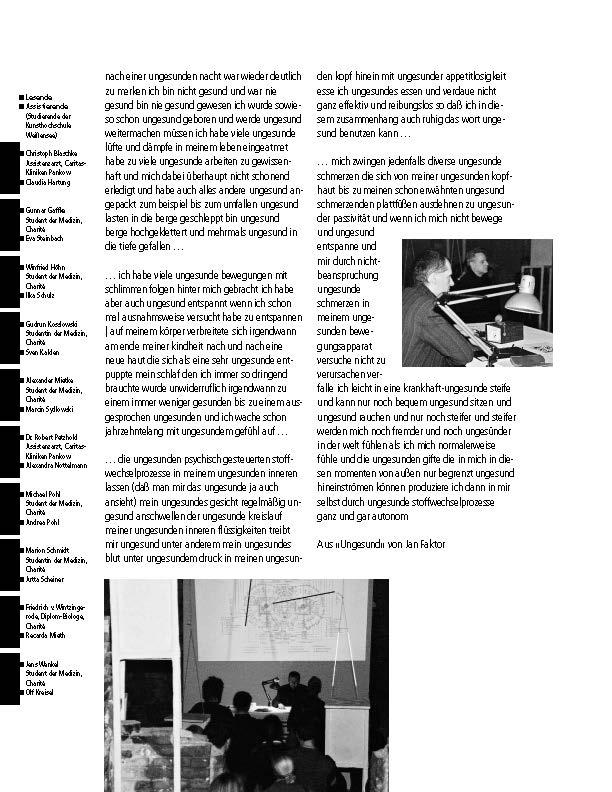 """Catalog: """"Anatomisches Theater"""", Inge Mahn, 2000; Design: punkt 8, Berlin"""
