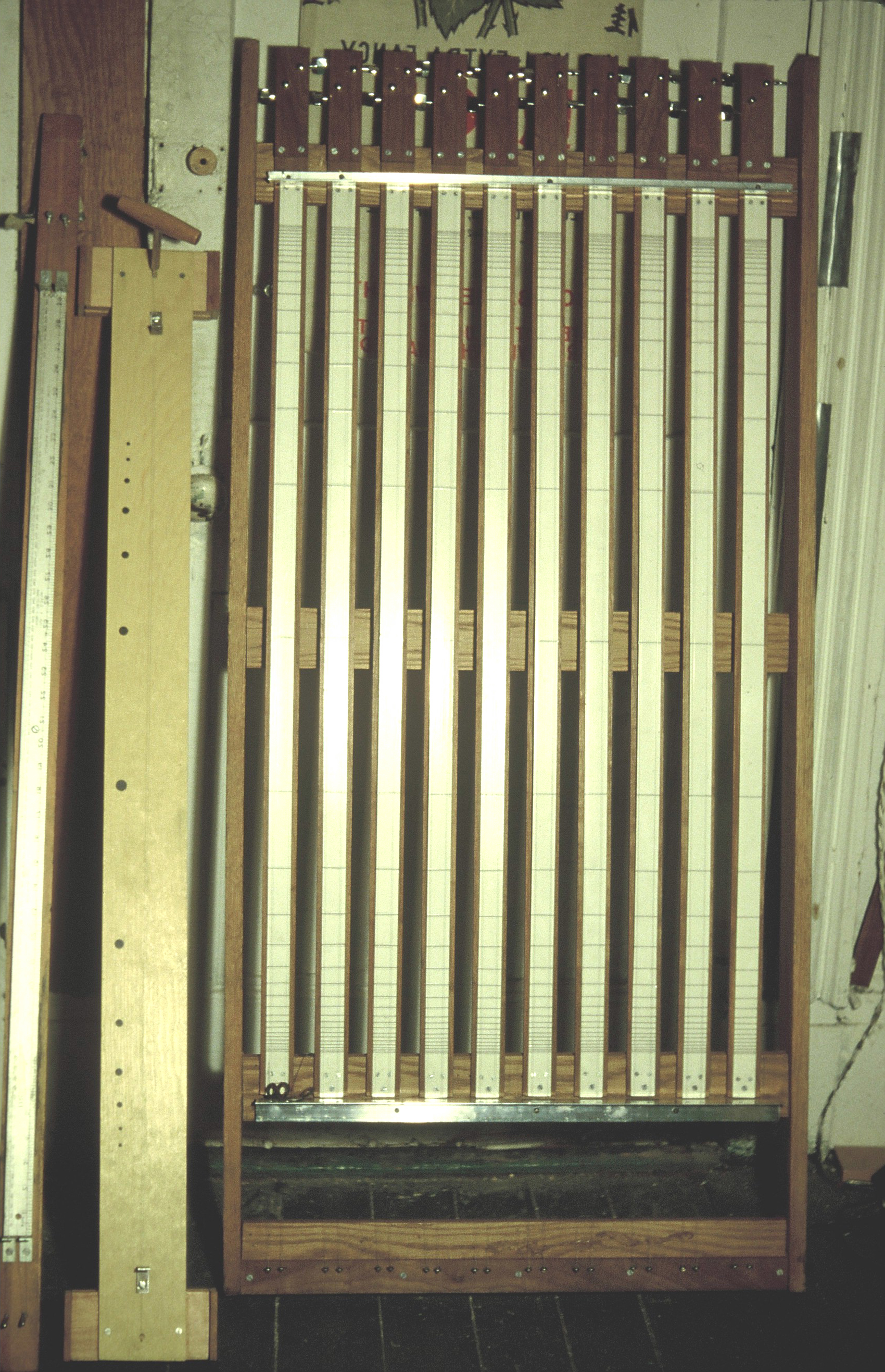 First two monochords, Multiple Zither with hanging nodal locators, Fulton Street Studio, 1978