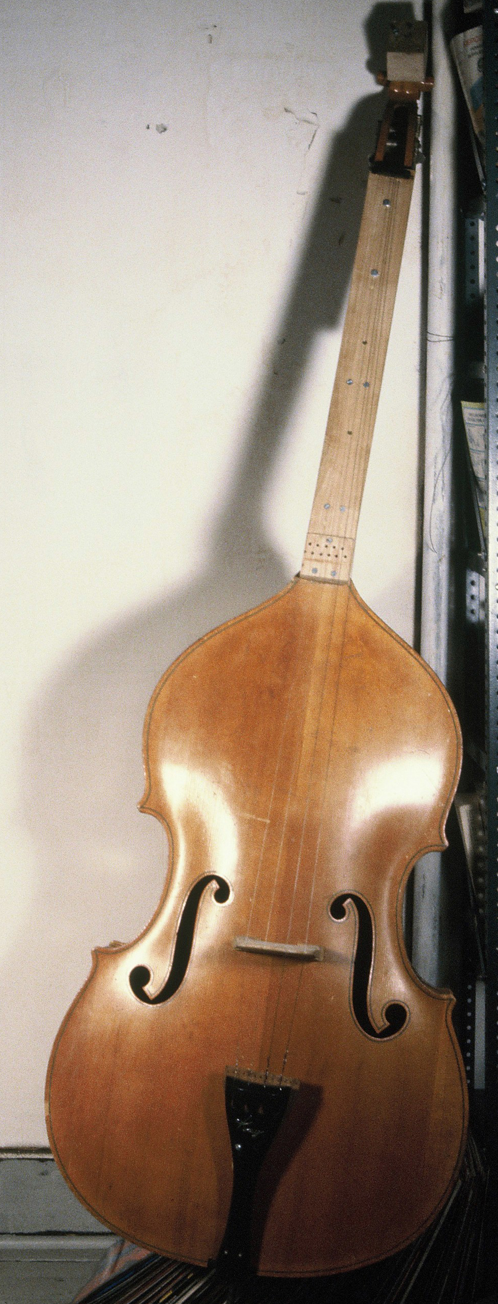 Excited Strings Bass with extended neck and (planned) sympathetic strings, Sackett Street Studio, 1980