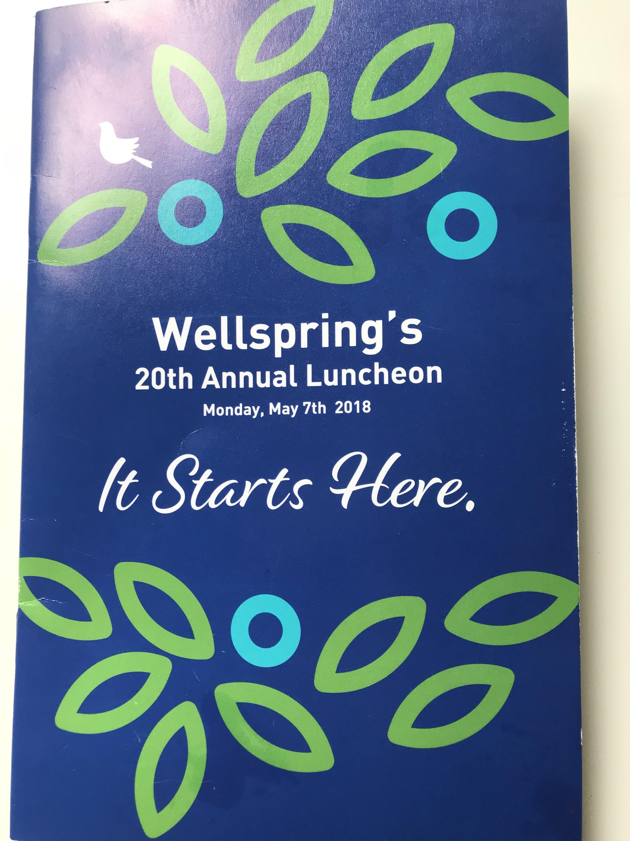 The 2018 Wellspring Luncheon invitation