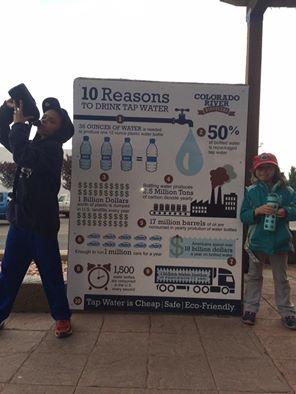 Michael Schutzbank has his kids post for a #WaterBottleSelfie