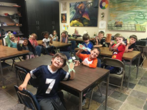 Whitney Nolan's art class at St. Francis School in Austin Texas (kindergarten through 2nd grade)