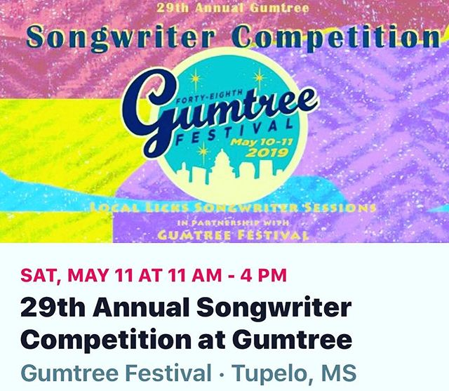 PRESS RELEASE:  Registration is now open for the 29th Annual Songwriter Competition at Gumtree, Tupelo MS!  Deadline to enter is April 21, 2019.  12 Finalists will be announced online April 28.  All Finalists will perform their winning song on the main stage during the Gumtree Festival in Tupelo MS. 1st, 2nd and 3rd place winners will be announced May 11 after all finalists have performed.  HAPPY WRITING!  https://gumtreefestival.wufoo.com/forms/z1pdjx8n1rysciy/