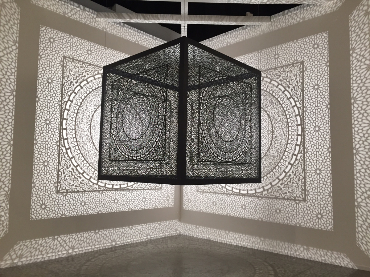 "Sublime Light   Art Dubai Fair: U.A.E 2015  Lacquered steel and halogen bulb 60"" x 60"" x 60"" 2015"