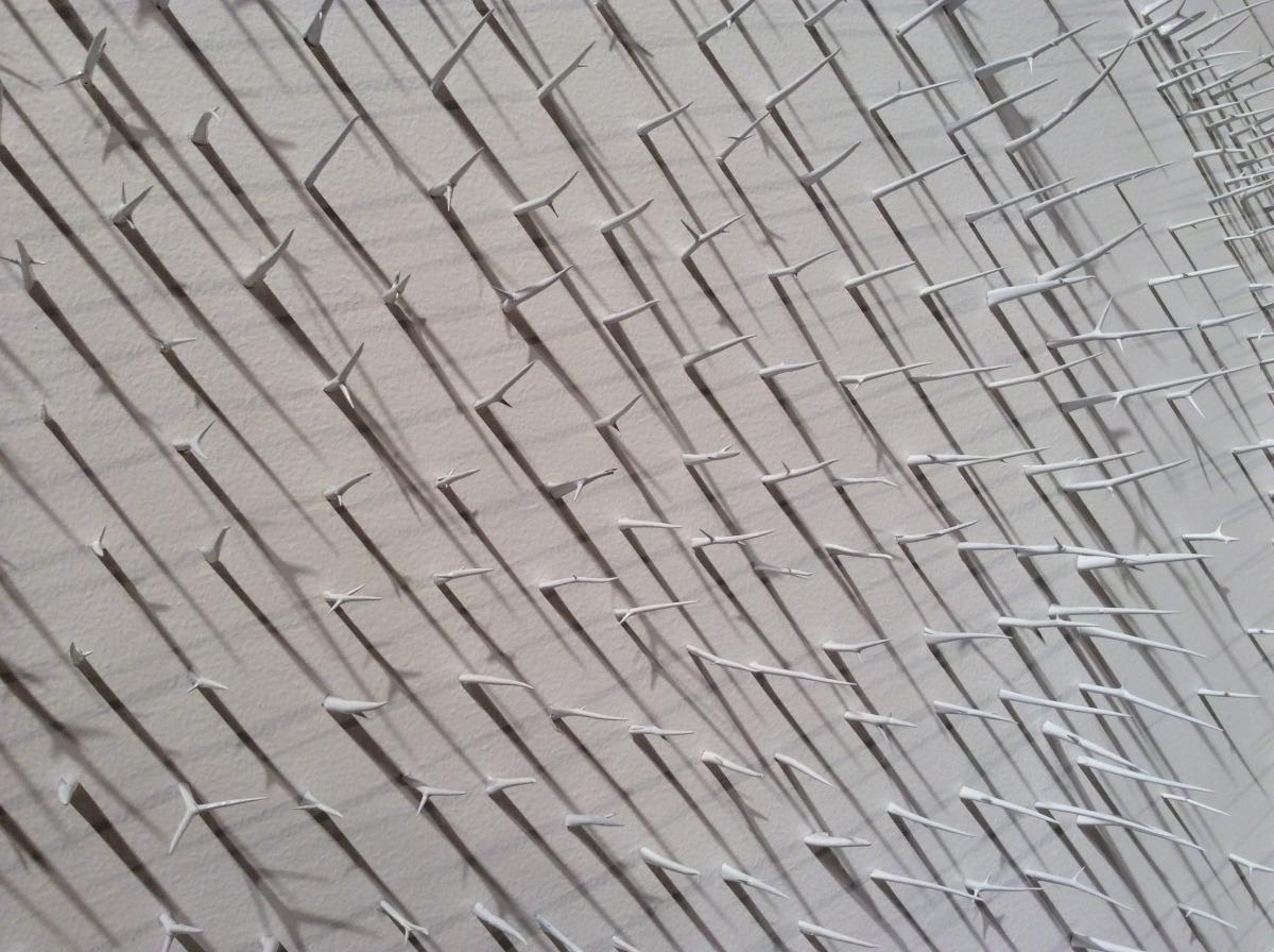 Murmuration II (Detail 2)   Lure of the Eye Exhibition @ Sharjah Art Expo: Sharjah, U.A.E 2014  Honey Locust Thorns, T-Pins, White Paint  30' x 12' 2014