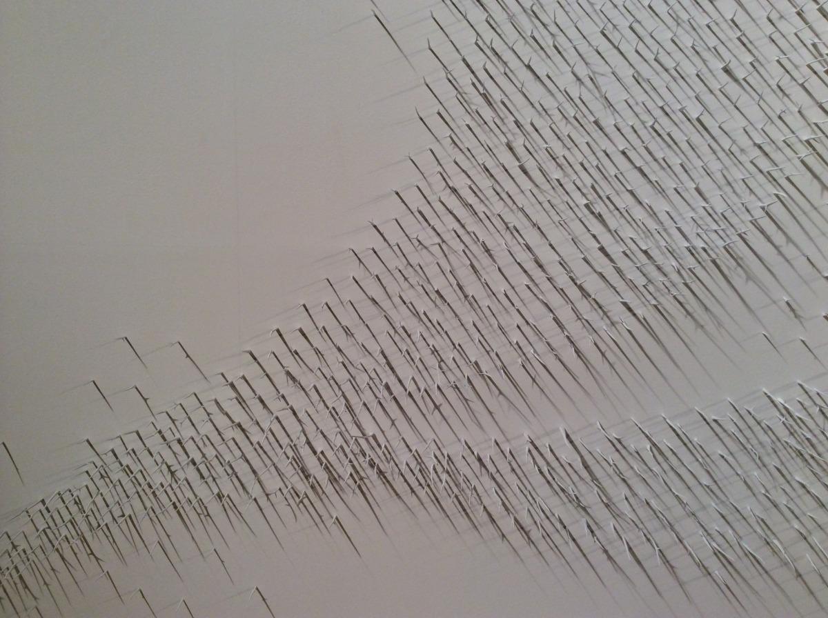 Murmuration II (Detail)   Lure of the Eye Exhibition @ Sharjah Art Expo: Sharjah, U.A.E 2014  Honey Locust Thorns, T-Pins, White Paint  30' x 12' 2014