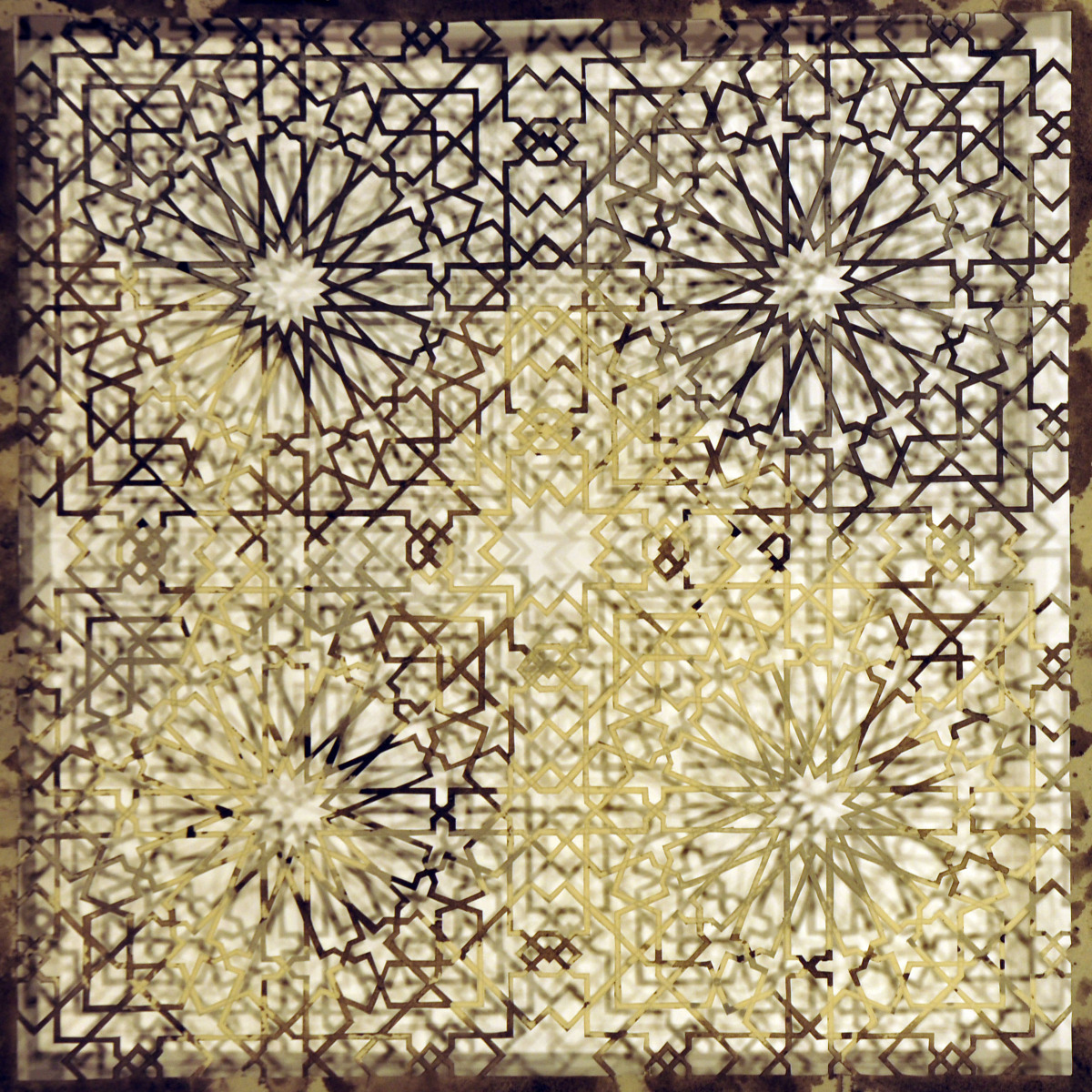 """Intersections - Black   Cut Paper, and Encaustic  15"""" x 15"""" 2013"""