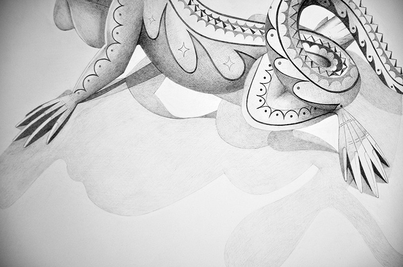 "Spirit Animal- Iguana (Detail)   Graphite on Paper  22"" x 30"" 2012"