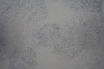 Regeneration II (Detail)   Ink, Graphite, thread and wax on paper  22' x 22'' 2012