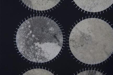 Regeneration IX (Detail)   Ink, Graphite, thread and wax on paper  22'' x 22''  2012