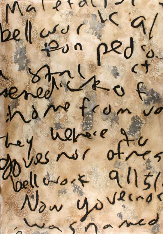 "Rafae's Forgotten English Homework 1   Mixed Media on Paper  30"" X 22"" 2009"
