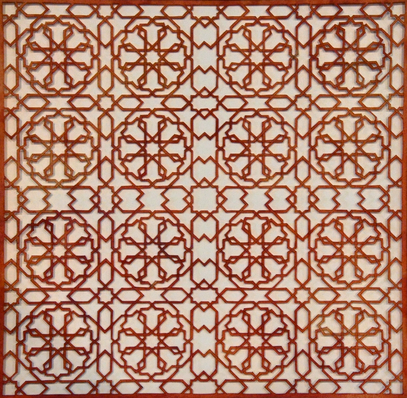 """Intersections - Red    Cut paper, Encaustic   15"""" x 15"""" 2013"""