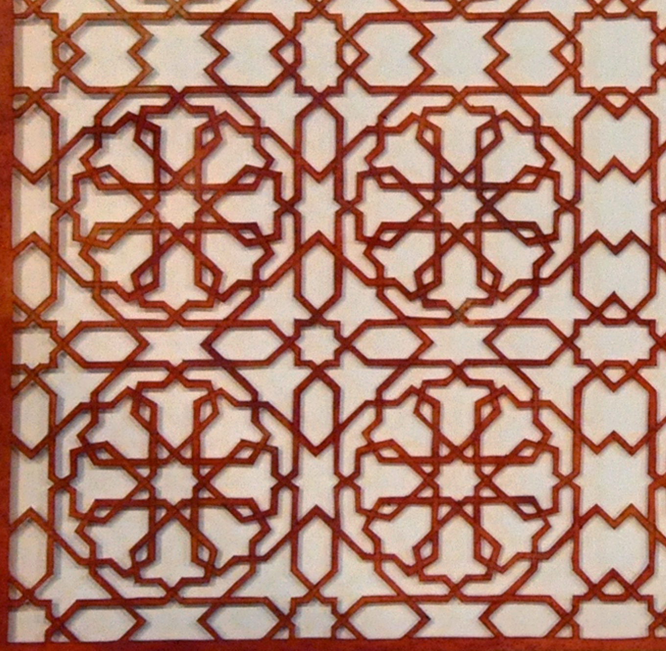 """Intersections - Red (Detail)   Cut paper, Encaustic  15"""" x 15"""" 2013"""
