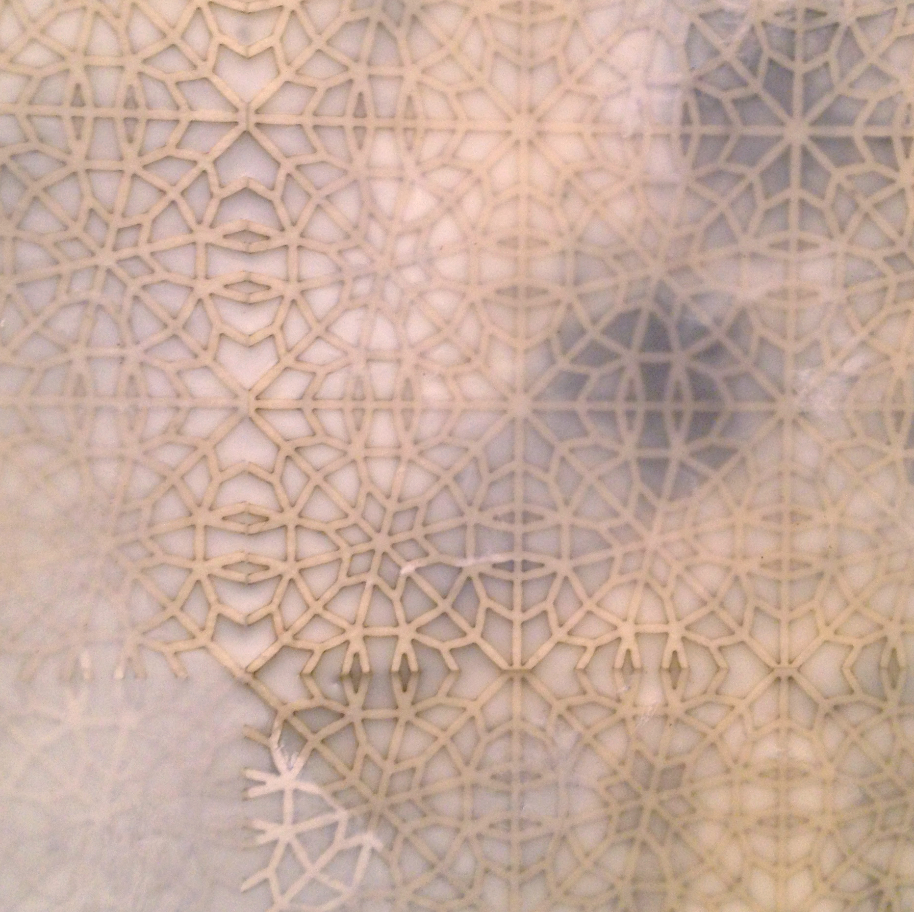 "Intersections: White 2 (Detail)   Encaustic and cut paper  24"" x 24"" x 2"" 2014"