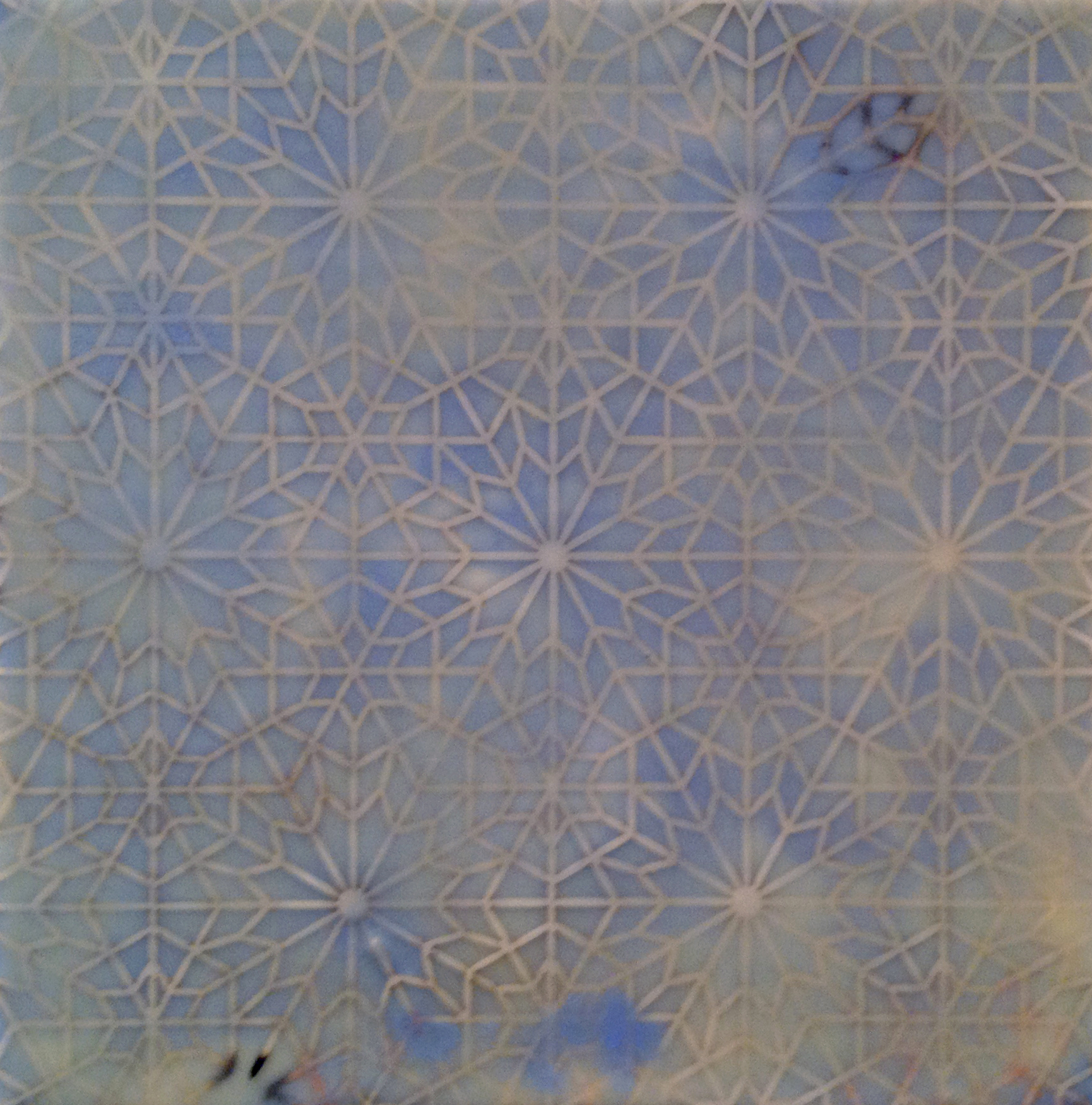"Intersections: Blue   Encaustic and cut paper  12"" x 12"" x 2"" 2014"