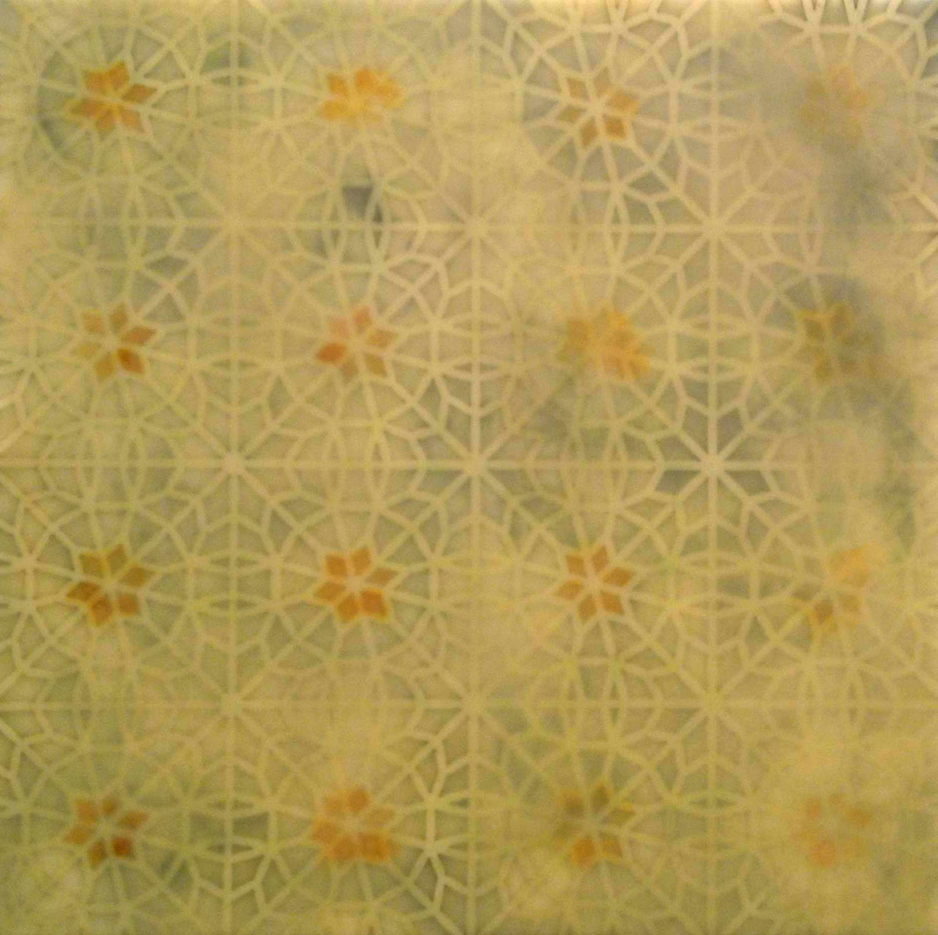 "Intersections: Yellow   Encaustic and cut paper  12"" x 12"" x 2""  2014"