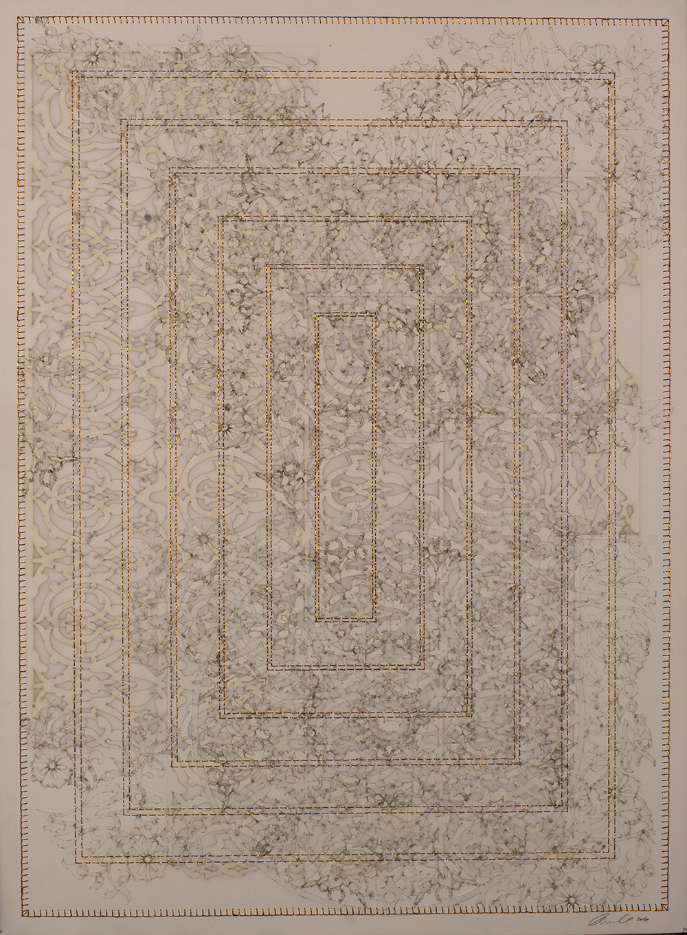 """Antique Lace 3   Mixed media on paper (Laser-cut patterns on paper with mylar and embroidery)  29.5"""" x 21.5"""" 2016  Walking With My Mother's Shadow-Artist Statement"""