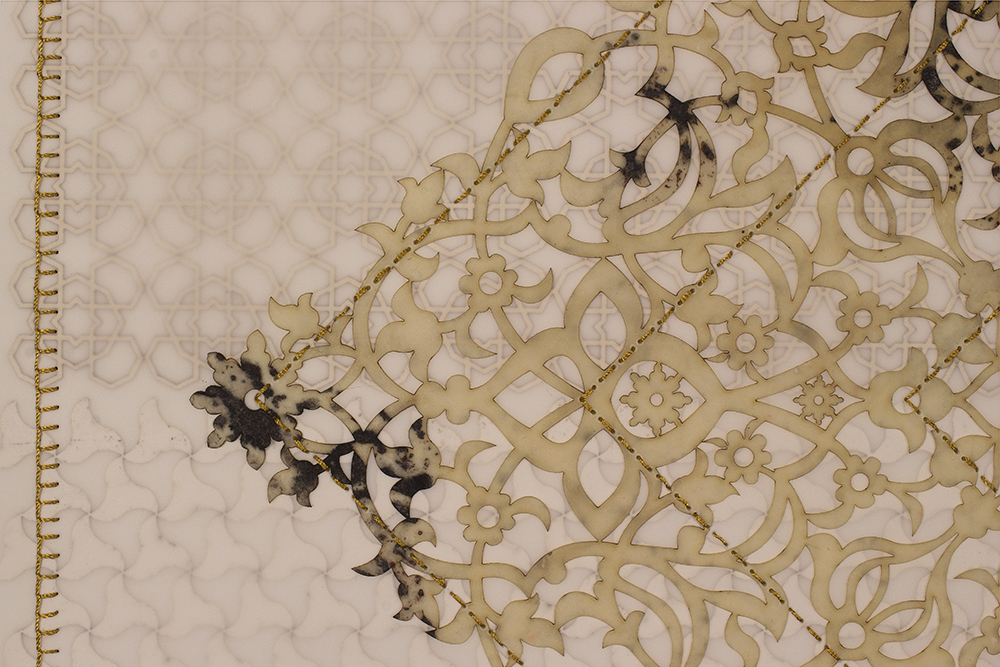"""Antique Lace 4 (Detail)   Mixed media on paper (Laser-cut patterns on paper with mylar, encaustic and embroidery)  30"""" x 22"""" 2016  Walking With My Mother's Shadow-Artist Statement"""
