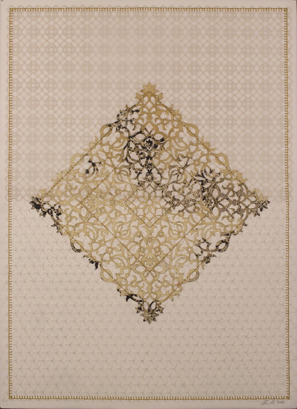 """Antique Lace 4   Mixed media on paper (Laser-cut patterns on paper with mylar, encaustic and embroidery)  30"""" x 22"""" 2016  Walking With My Mother's Shadow-Artist Statement"""