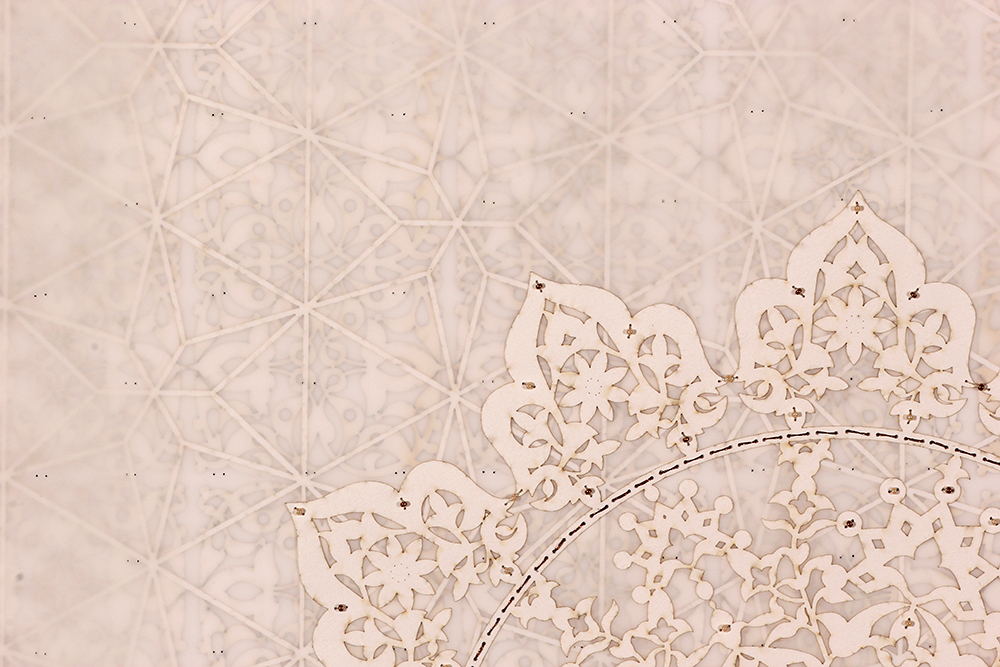 """Antique Lace 1 (Detail)   Mixed media on paper (Laser-cut patterns on paper with mylar, embroidery and beads)  30"""" x 22"""" 2016  Walking With My Mother's Shadow-Artist Statement"""