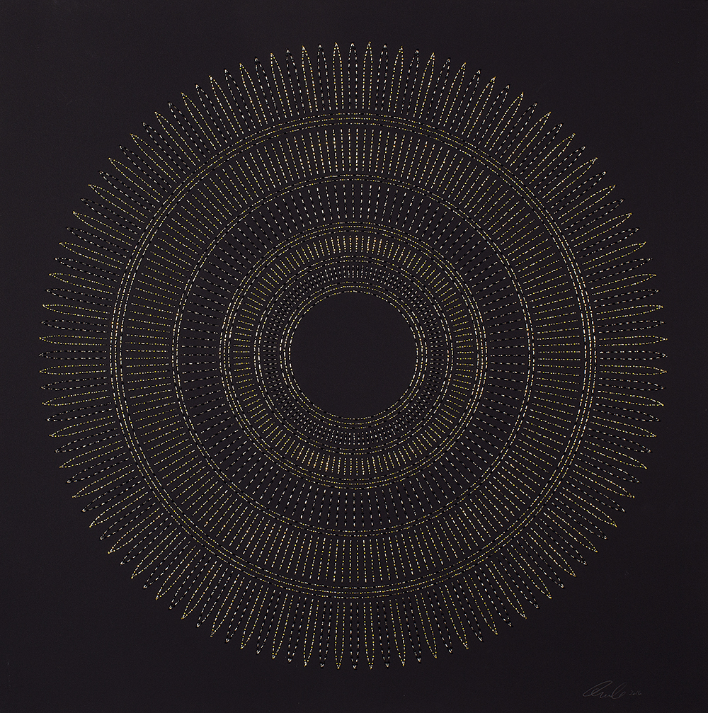 "Circle the Kaaba- Chartruese   Mixed media on paper (Black and chartruese beads and embroidery on black paper)  29"" x 29"" 2016  Walking With My Mother's Shadow-Artist Statement"