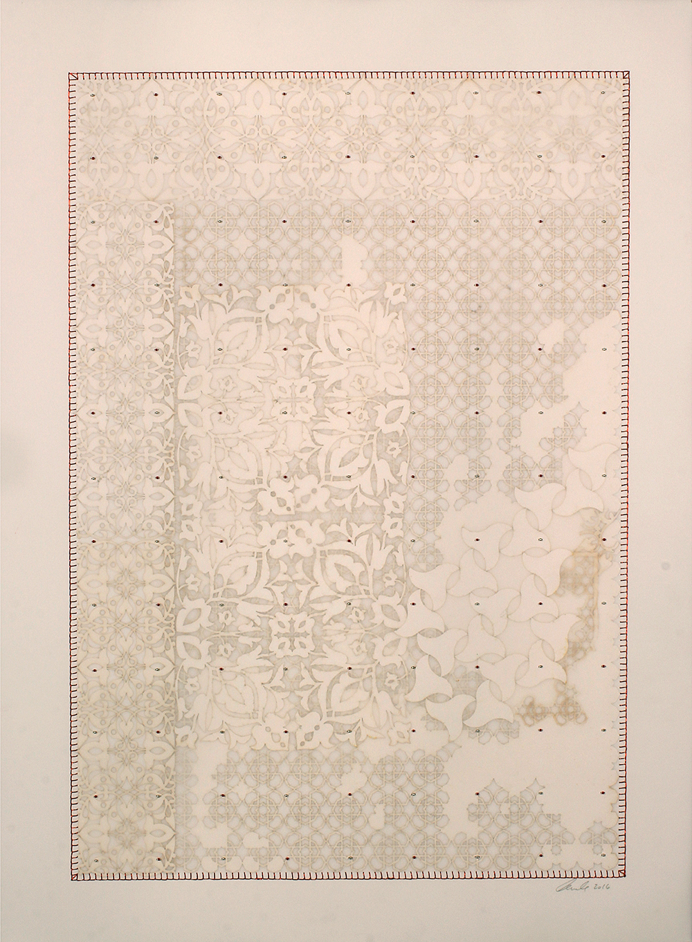 """Antique Lace 2   Mixed media on paper (Laser-cut patterns on paper with mylar, embroidery and beads)  26"""" x 20"""" 2016  Walking With My Mother's Shadow-Artist Statement"""